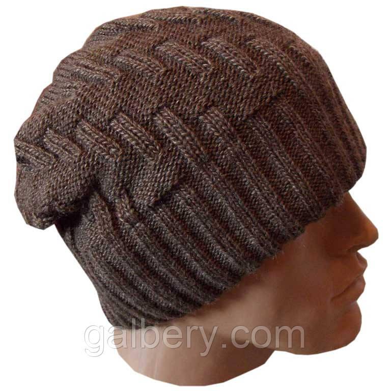 Вязаная мужская шапка - носок цвета какао
