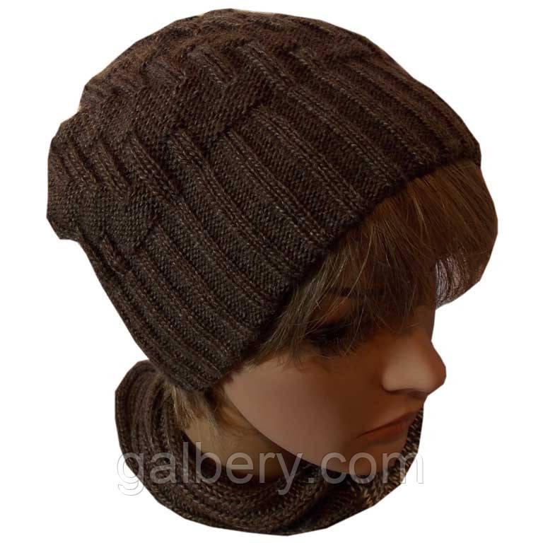В'язана жіноча шапка - носок кольору какао