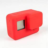 Силиконовый чехол, футляр с крышкой на объектив для экшн камер GoPro Hero 5 - красный (код № XTGP347)