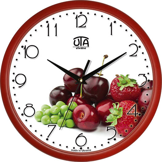 "Настенные часы в кухню 300Х300Х45мм ""Ягоды"" [Пластик, Под стеклом]"