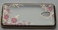 Чехол бампер Meizu M3/3S  gold Flowers(Swarovski)