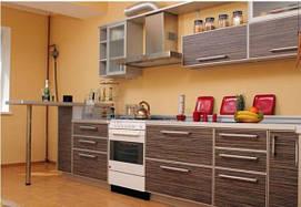 Прямая кухня с применением ЛДСП фасада в С-профиле.