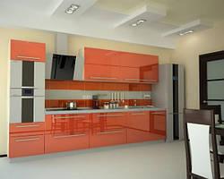 Прямая кухня с применением крашенного МДФ фасада.