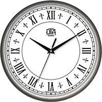 Настенные офисные часы 300Х300Х45мм [Пластик, Под стеклом] UTA-01-S-42 серебристые