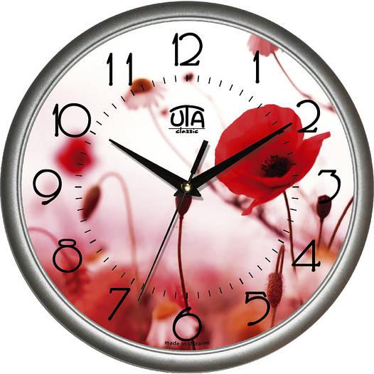 "Настенные часы 300Х300Х45мм ""Маки"" [Пластик, Под стеклом]"