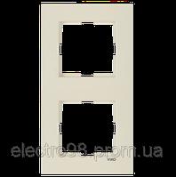 Двойная рамка VI-KO Karre вертикальная скрытой установки (кремовая)