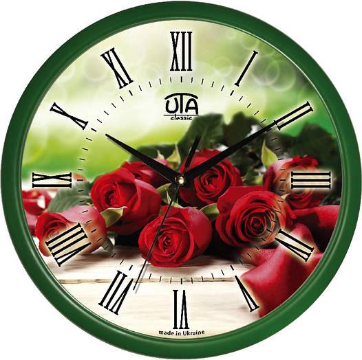 """Настенные часы 300Х300Х45мм """"Букет роз"""" [Пластик, Под стеклом]"""