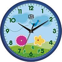 Настенные часы в детскую комнату 300Х300Х45мм [Пластик, Под стеклом] UTA-01-BL-46 синие