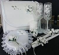 """Свадебный набор """"Нежность"""" (белый): свадебные бокалы, cвечи, сундук, подушка под кольца"""