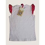 Біла футболка для дівчинки з написами Lollipop Lollipop з рукавами-крильцями, фото 5