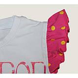 Біла футболка для дівчинки з написами Lollipop Lollipop з рукавами-крильцями, фото 4