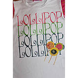 Біла футболка для дівчинки з написами Lollipop Lollipop з рукавами-крильцями, фото 2