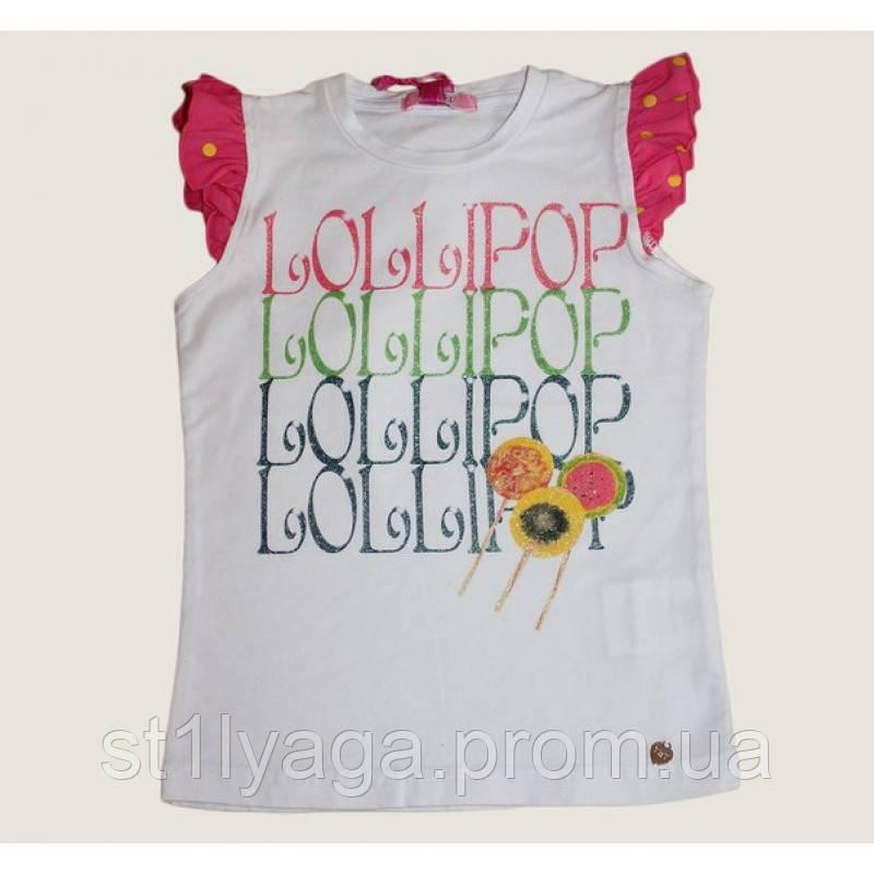 Біла футболка для дівчинки з написами Lollipop Lollipop з рукавами-крильцями