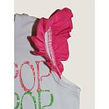 Біла футболка для дівчинки з написами Lollipop Lollipop з рукавами-крильцями, фото 3