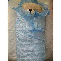 Атласный конверт-одеяло для выписки из роддома