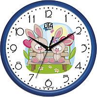 """Настенные часы в детскую 300Х300Х45мм """"Зайчики"""" [Пластик, Под стеклом]"""