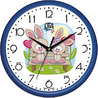 """Настенные часы в детскую комнату 300Х300Х45мм """"Зайчики"""" [Пластик, Под стеклом] UTA-01-BL-47 синие"""