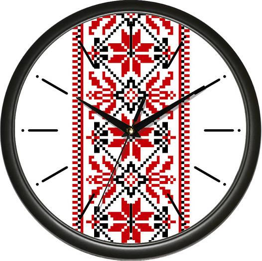 """Настенные часы 300Х300Х45мм """"Вышиванка"""" [Пластик, Под стеклом]"""
