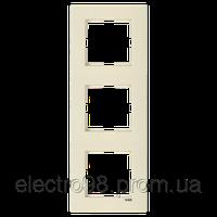 Тройная рамка VI-KO Karre горизонтальная скрытой установки (кремовая), фото 1