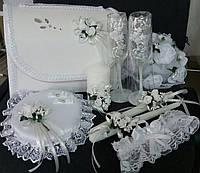 """Свадебный набор """"Нежность"""" (белый): свадебные бокалы, cвечи, сундук, подушка под кольца, букет, подвязка"""
