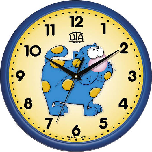 """Настенные часы в детскую 300Х300Х45мм """"Котяра"""" [Пластик, Под стеклом]"""