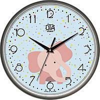 """Настенные часы в детскую 300Х300Х45мм """"Розовый слон"""" [Пластик, Под стеклом]"""