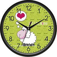 """Настенные часы в детскую комнату 300Х300Х45мм """"Овечка"""" [Пластик, Под стеклом] UTA-01-B-61 черные"""