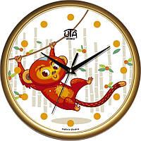 """Настенные часы в детскую 300Х300Х45мм """"Обезьянка"""" [Пластик, Под стеклом]"""