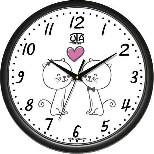 """Настенные часы в детскую 300Х300Х45мм """"Котики"""" [Пластик, Под стеклом]"""
