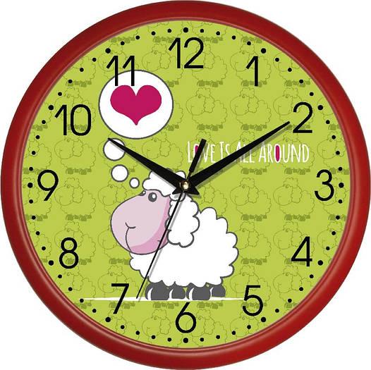 """Настенные часы в детскую 300Х300Х45мм """"Овечка"""" [Пластик, Под стеклом]"""