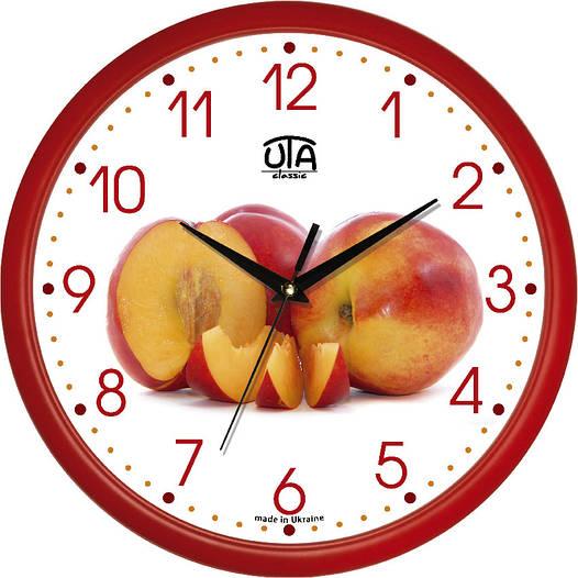 """Настенные часы в кухню 300Х300Х45мм """"Персики"""" [Пластик, Под стеклом]"""