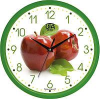 """Настенные часы в кухню 300Х300Х45мм """"Яблоки"""" [Пластик, Под стеклом]"""