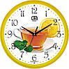 """Настенные часы в кухню 300Х300Х45мм """"Чай с лимоном"""" [Пластик, Под стеклом]"""