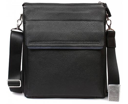 4a9f33a7f7d5 Деловая мужская кожаная сумка формата А4 черная ALVI av-2-3917А, фото 2
