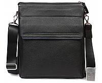 Деловая мужская кожаная сумка формата А4 черная ALVI av-2-3917А