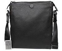 Повседневная мужская сумка из натуральной кожи формата А4 черная ALVI av-849