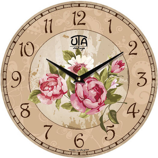 Часы настенные в стиле кантри 330Х330Х30мм [МДФ, Открытые]