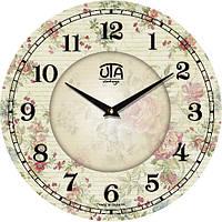 """Настенные часы в стиле прованс 330Х330Х30мм """"Нежность"""" [МДФ] UTA-019-VP белые"""