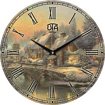 """Настенные часы 330Х330Х30мм """"Зимний пейзаж"""" [МДФ, Открытые]"""