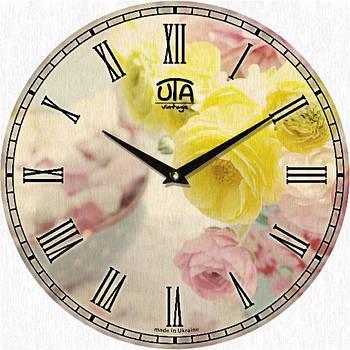 """Настенные часы 330Х330Х30мм """"Нежные розы"""" [МДФ, Открытые]"""