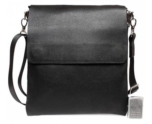 d70f7cef131f Деловая мужская сумка-мессенджер из натуральной кожи формата А5 черная ALVI  av-02-