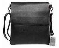 Деловая мужская сумка-мессенджер из натуральной кожи формата А5 черная ALVI av-02-5017