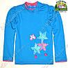 Лонгслив голубой, футболка с длинным рукавом для девочки Цветы