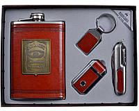 Подарочный набор Виски кожа+набойка (фляга,брелок,зажигалка,нож) AL702