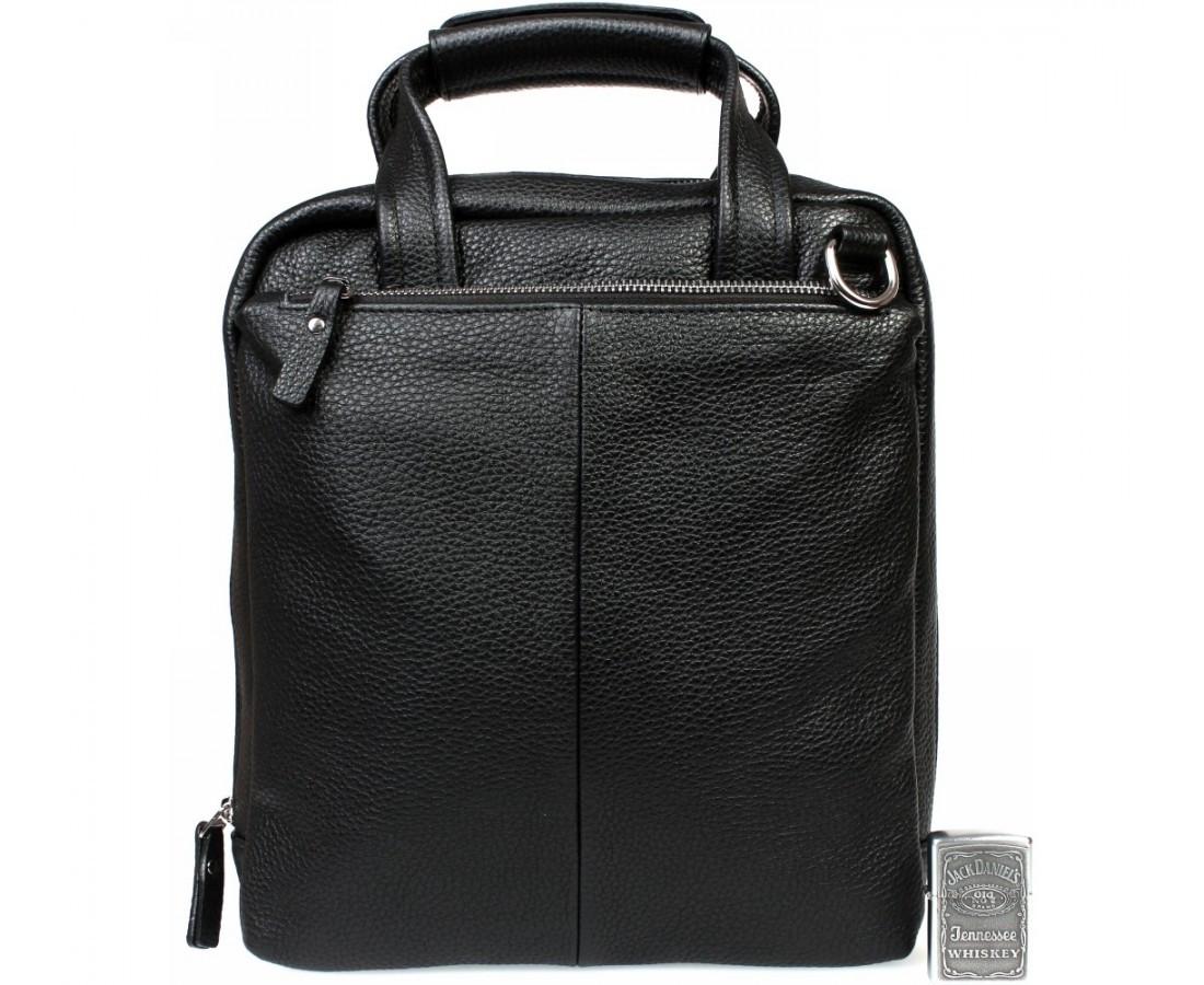 Деловая мужская кожаная сумка формата А4 черная ALVI av-2-9341