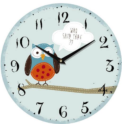 "Настенные часы в детскую 330Х330Х30мм ""Совушка"" [МДФ, Открытые]"