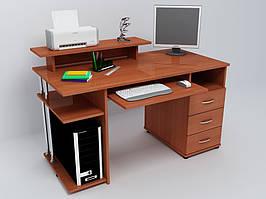 Небольшой прямой стол с ящиками и полками.