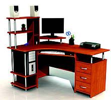 Угловой стол с ящиками, полками и надстройкой.