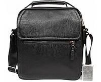 Стильная мужская кожаная сумка-барсетка черная ALVI av-4-729