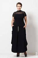 """Костюм большого размера (кофта с короткими рукавами и воротником """"под горло"""" и оригинальная длинная юбка декор"""